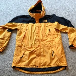 Vintage The North Face yellow black hooded jacket
